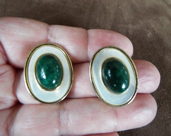 Malachite mother of pearl stud earrings