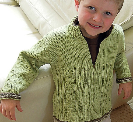 Boys jumper with cable pattern and contrasting trim P013
