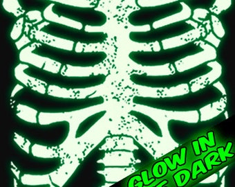 GLOW In The Dark Rib Cage Skeleton T-Shirt Horror Punk Rock Goth Emo Halloween Geekery Costume Party Tee Shirt Tshirt Mens Womens S-3Xl