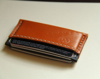 handmade leather business card case by GENATI . Handstitched, orange , dark gray