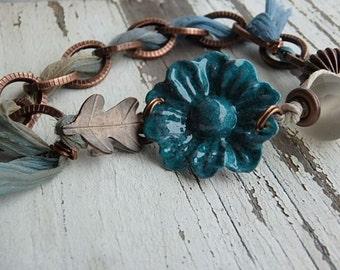 Blue Lagoon bracelet- teal enamel flower. artisan copper leaf clasp. hand dyed ribbon. copper chain. ombre fibe bracelet. jettabugjewelry