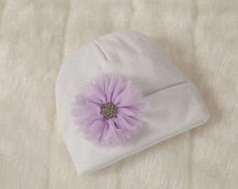 Infant White Baby Girl Beanie Hat with Chiffon Flower