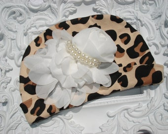 Leopard Baby Girl Beanie Hat with Chiffon Flower and Pearls