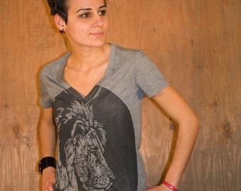 T Shirt - V Neck - Short Sleeve - Heather Grey - Lion Shirt - Womens V Neck T Shirt -