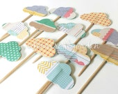 12 Pack MINI CLOUD Cupcake Toppers- Novelty Pastel Romantic Pattern, Green and White Polka Dots, Pink Stripes, Newspaper, Magazine Print