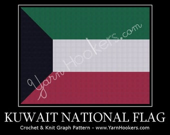 Kuwait National Flag - Afghan Crochet Graph Pattern Chart - Instant Download