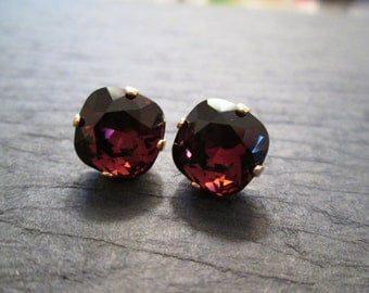 Burgundy Swarovski Crystal Earrings/ Bridesmaid Jewelry/Swarovski Crystal Studs/ Swarovski Earrings/ Square Crystal Studs
