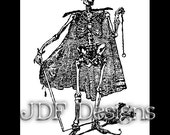 Instant Digital Download, Edwardian Era Graphic Ephemera, Vintage Book Plate Gentleman Skeleton, Gothic Halloween, Grim Reaper