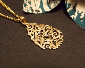 Gold Filigree Teardrop Necklace