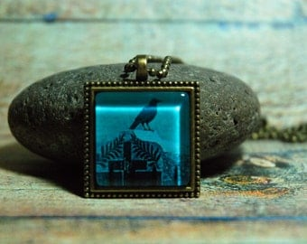 """1"""" Square  Glass Pendant Necklace or Key Chain - Raven on Headstone"""