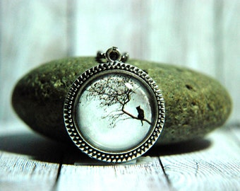 """1"""" Round Glass Pendant Necklace or Key Chain  - Black Cat and Full Moon"""