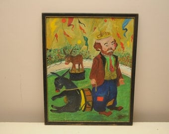 Vintage Circus Clown Painting with Donkeys