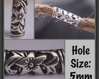 10 Tibetan Silver Flower 5mm Hole (3/16 Inch)