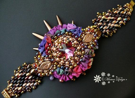 Bead embroidered bracelet cuff with swarovski rivoli cristal