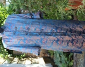 Vintage Chinese Silk Coat in Blue and Red