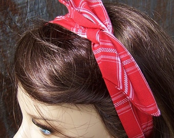 DOLLY BOW red with white plaid wire headband hair wrap tie hat band cotton fabric pinup Rosie the Riveter one size fits all adjustable