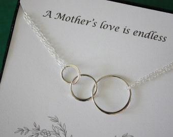 2 Mother Infinity Necklaces, Mom, Family Circle, Sterling Silver, Good Karma, Circles, Thank you card