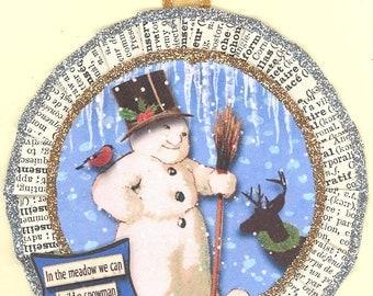 Snowman Christmas Ornament | Snow Man Ornament | Vintage Style