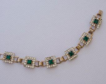Faux Emerald and Rhinestone Bracelet 1950s Vintage