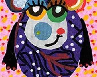 Whimsical Bear Art, Bear Collage, Nursery Room Print, Art For Kids, Kids Wall Art, Funny Animal Print, Smiley Bear by Paula DiLeo_