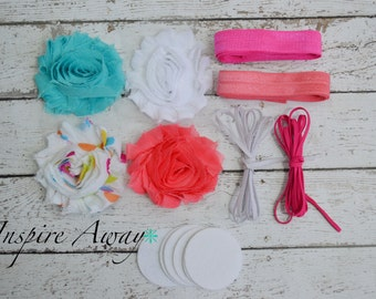Baby Headband Kit #13, DIY baby headbands, shabby flowers, foe elastic, baby hair bow making kit for baby shower