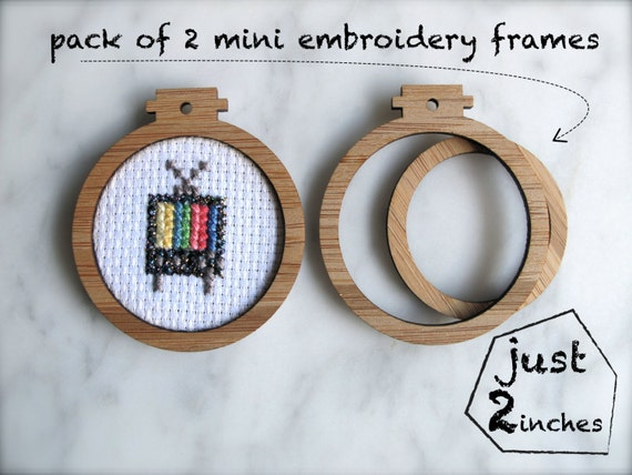"Miniature embroidery frames - Pack of 2 x hoops -  2"" inches wide"