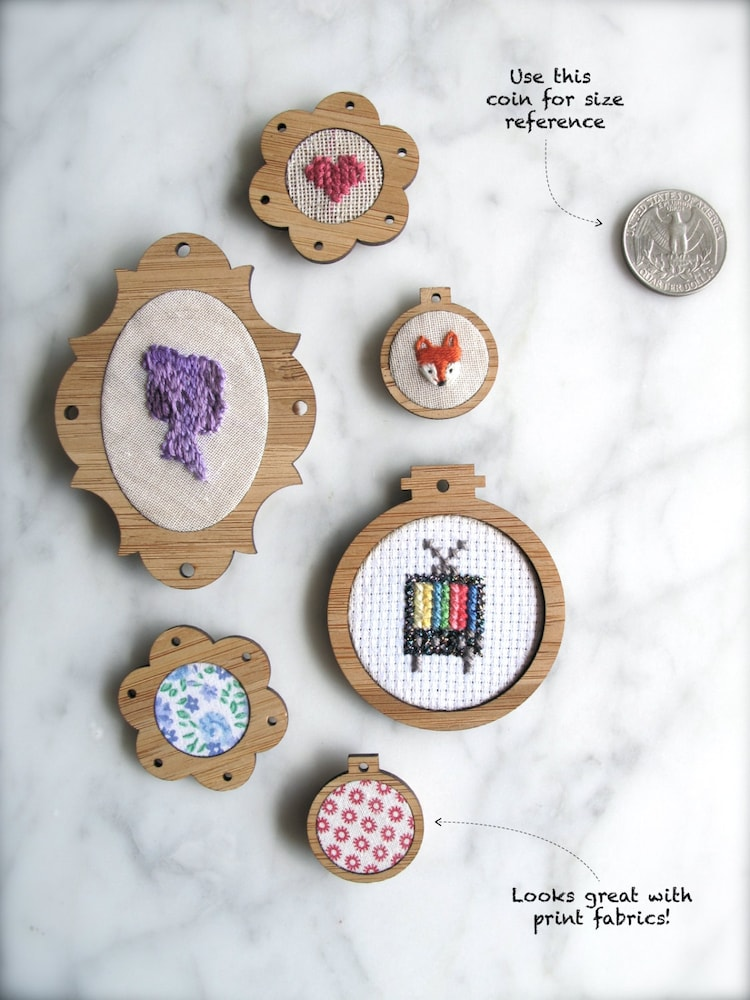Miniature embroidery hoop frames pack of by