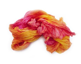 orange silk scarf - Summer sunset -  orange, yellow, hot pink, magenta silk scarf.