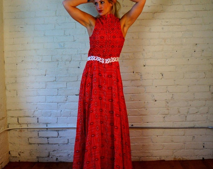 Bandana Dress Red Paisley Maxi Vintage 1970s SMALL MED Cotton Sleeveless Full Skirt Bohemian Hoe Down Country Western Hippie