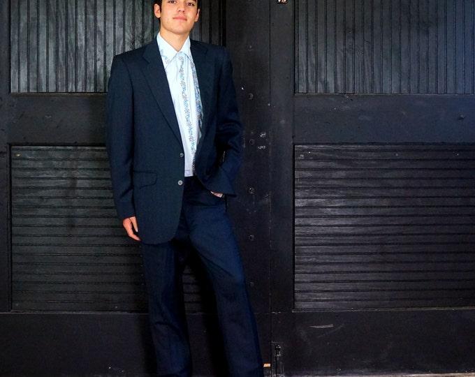 Western Suit Tregos Westwear Vintage New w Tags Blue Subtle Stripe Wool Mens 38 R 2 Button Jacket 31 Waist Flat Front Pants Sawtooth Yoke