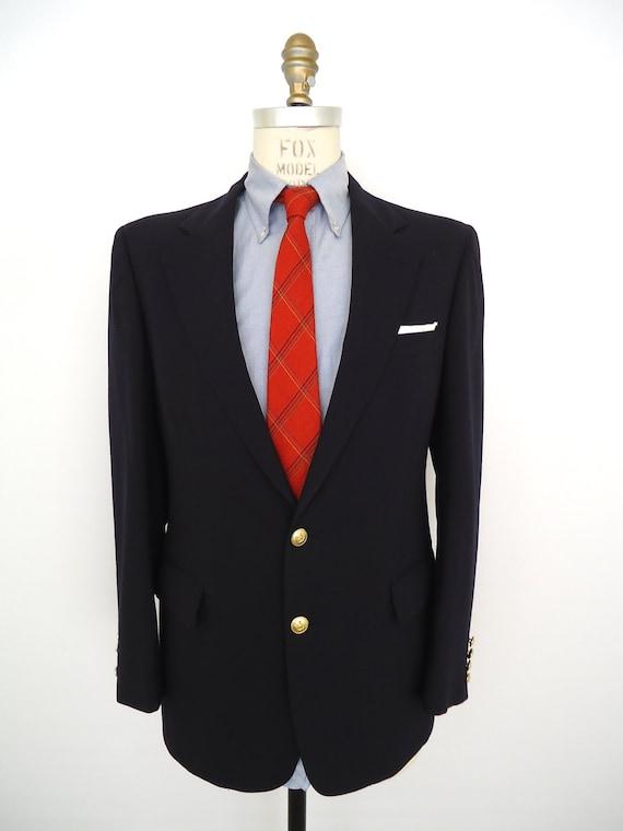 Vente vintage blazer bleu marine boutons dor s redwood - Blazer bleu marine homme ...