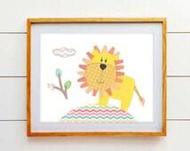 Nursery Artwork - Baby Boy Safari Nursery Decor - Jungle Nursery - Lion - Green, blue, red, yellow and brown - PRINT