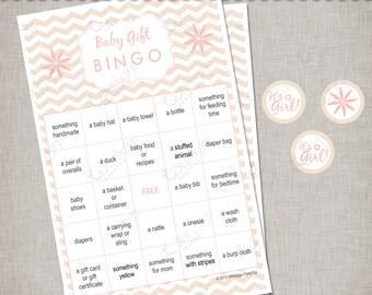 Chevron Baby Shower - Blush & Champagne Gift Bingo Game -  INSTANT DOWNLOAD