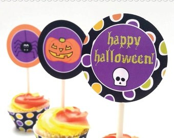 DIY Halloween Cupcake Toppers - Printable .PDF File