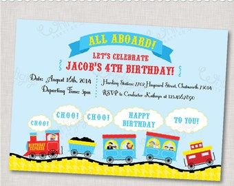 "Train Party Invitation - ""Birthday Express"" - Printable Digital File or Printed Invitations with Envelopes - FREE SHIPPING"