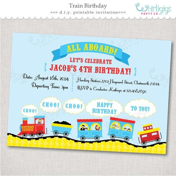 train party invitation birthday express printable digital file