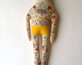 Large Vintage inspired Handmade Hipster Art Doll - Sailor with Red Hair Mustache and NauticalTattoos OOAK - made to order soft sculpture