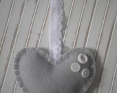 Handmade Grey Felt Heart  ~ White Vintage Buttons ~ White Lace Hanging