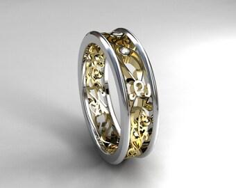 Men's wedding band, Diamond ring, Yellow gold, men filigree ring, wedding band, men unique ring, for men, two tone, Wide wedding