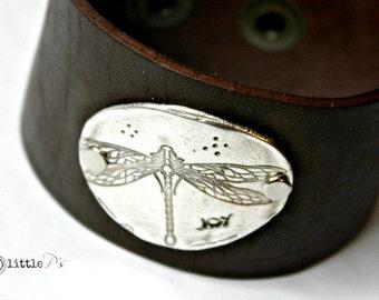 Dragonfly Cuff ~ Pure Fine Silver Dragonfly Joy Leather Cuff, Leather Cuff