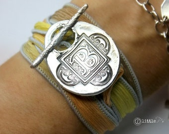 Letter Jewelry ~ Silk Wrap Letter Bracelet, Personalized Gift for her, Teen Gift