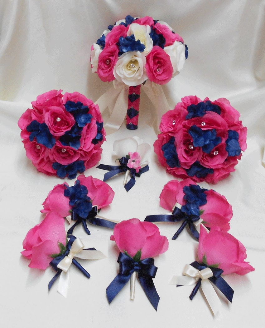 Dark Pink Wedding Flowers: Wedding Silk Flower Bouquet 18 Pieces Package Ivory Hot Pink
