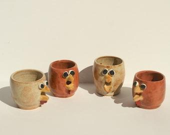 Handmade Ceramic Chicken Egg White Separators, Hand Thrown Stoneware Pottery, Chicken Decor, functional pottery,  rust tan gold