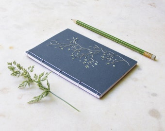 Tree Branch. Embroidered A6 Notebook. Nature Notepad. Floral Notebook. Japanese Floral Notebook. Garden Mini Journal. Spring Pocket Journal