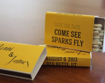 50 Custom Designed Matchbox Wedding Favors