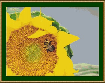 Sunflower With A Bee Cross Stitch Pattern