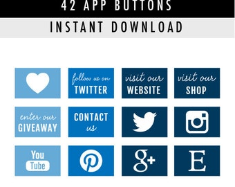 42 Social Media App Buttons/Icons for website/blog/more - Instant Download - Blue