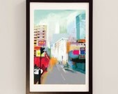 A Letter from Singapore- Signed Giclee Print by D McConochie/ travel colorful vibrant poster art blue red bright street cityscape cafe