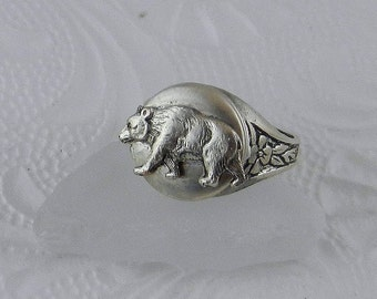 Bear Locket Ring - California Silver Mini Round Locket