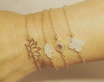 SALE! SALE! Charm Bracelets OHM, Buddha, Evil Eye, Peace, Hamsa, Lotus, Clover, Ladybug with Freshwater Pearl